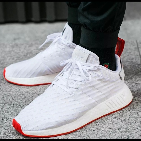Adidas Shoes Nmdxr2 Pk White Red Two Toned Boost Poshmark